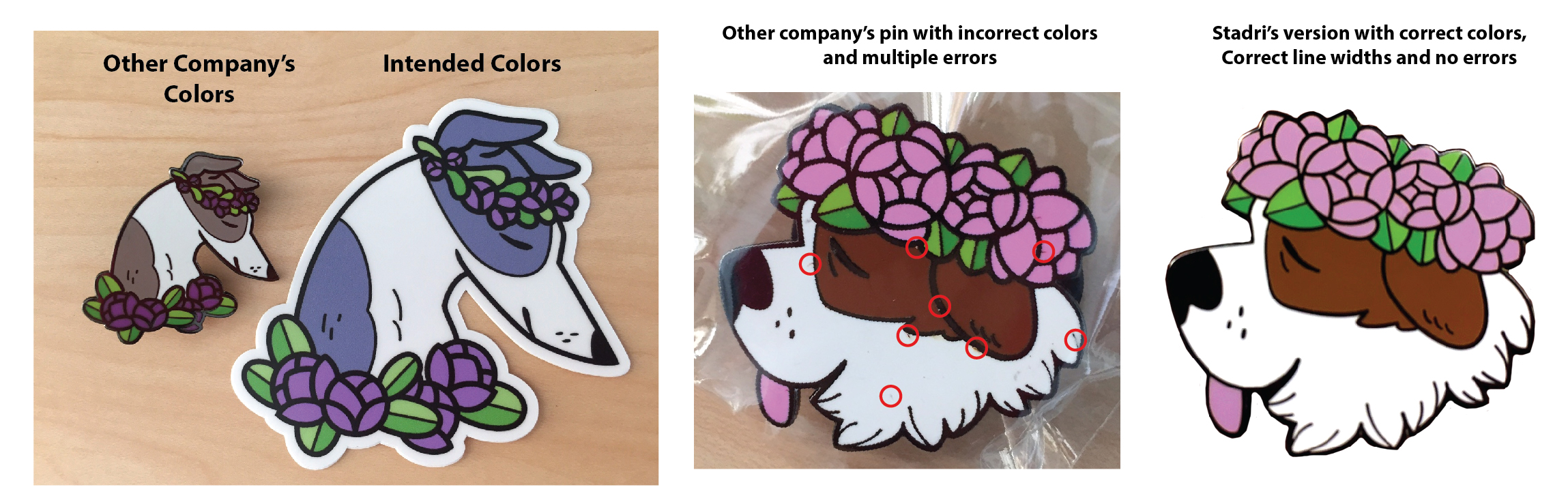 Dog pins comparison