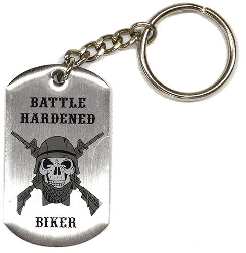 Battle-Hardened Biker Metal Keychain