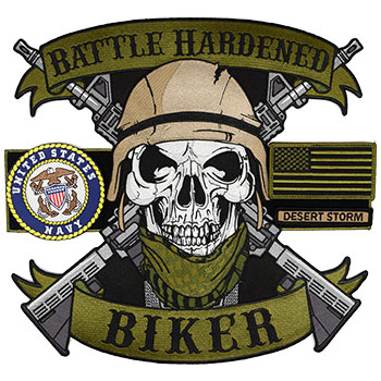 Battle Hardened Biker Back Patch Set