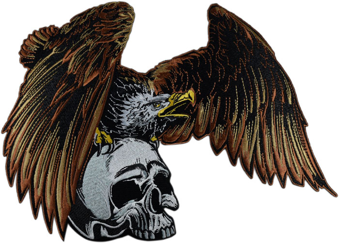 Stock Biker Patch - Eagle With Skull Back Patch