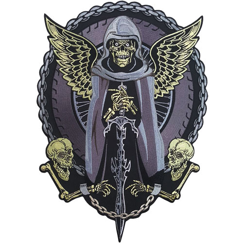 Stock Biker Patch - Reaper and Chains Back Patch