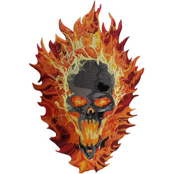 Stock Biker Patch - Skull On Fire Back Patch