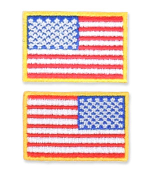 US Flag Patch - 1.5 x 1, Gold, Small Lapel