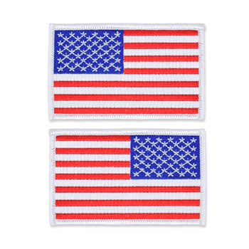 US Flag Patch - 3.5 x 2.125, White, Standard Shoulder Size