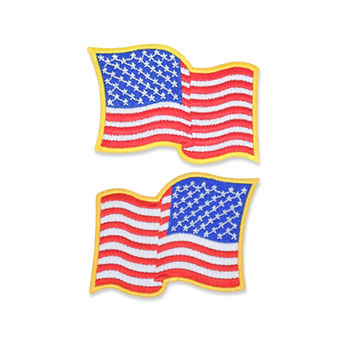 US Flag Patch - 3 x 2.25, Waving Gold, Standard Shoulder Size