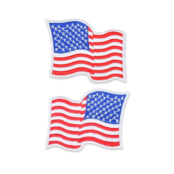 US Flag Patch - 3 x 2.25, Waving White, Standard Shoulder Size