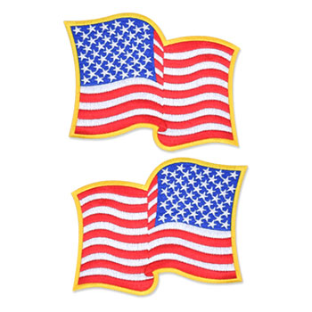 US Flag Patch - 4.5 x 3.5, Waving Gold, Large