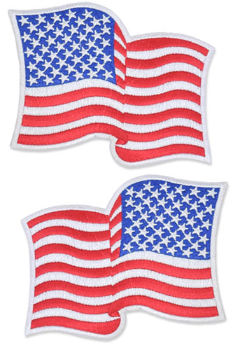 US Flag Patch - 4.5 x 3.5, Waving White, Large