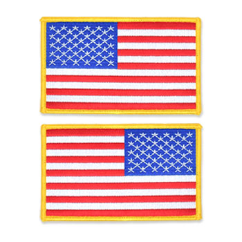US Flag Patch - 5 x 3, Gold, Large
