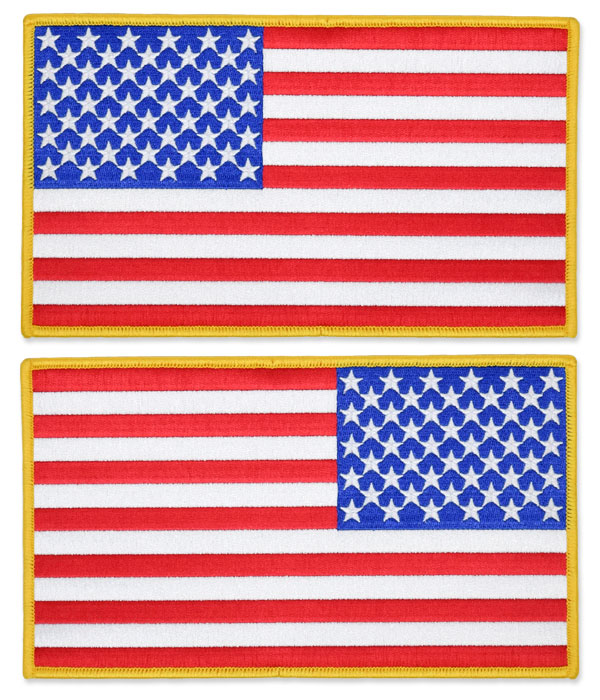 US Flag Patch - 8.5 x 5, Gold, XL Jumbo