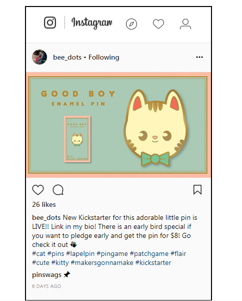 Instagram screenshot promoting Kickstarter campaign