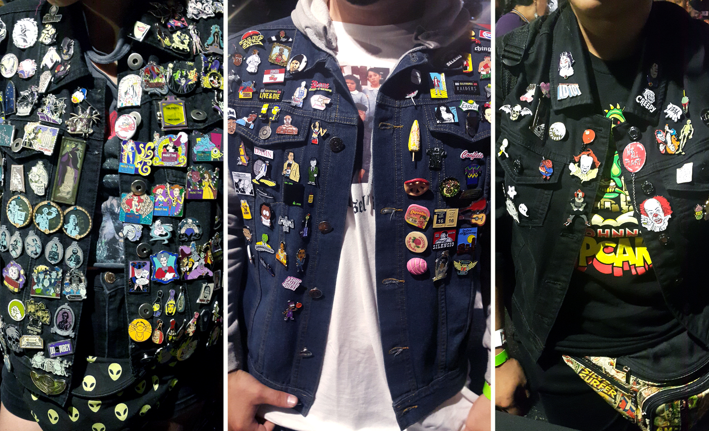 Patch & Pin Expo attendees with pins on their jackets