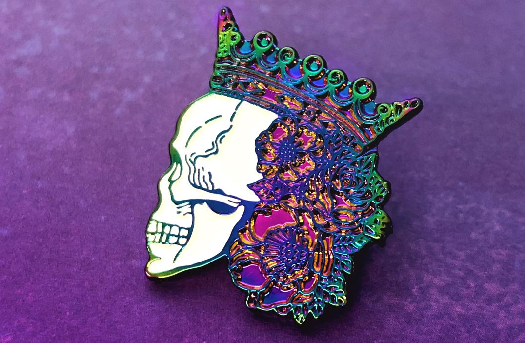 Rainbow metal Skull flower crown pins
