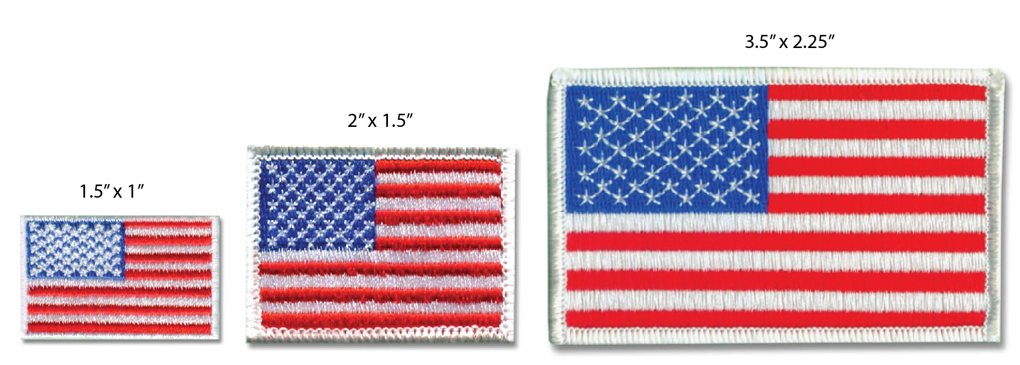 Comparison of patch sizes American Flag