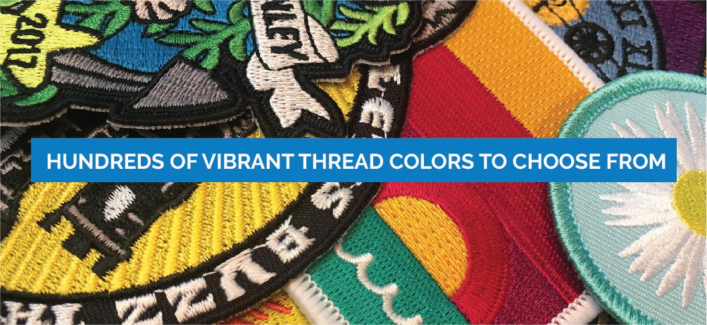 Hundreds of vibrant thread colors