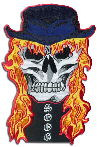 Skull with flame hair