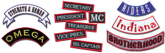 Top & Bottom Rockers, MC & Rank Patches!